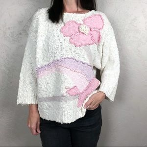 Vintage Floral Graphic Sweater Ivory and Pink
